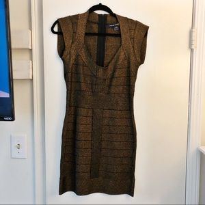 French Connection Bronze Bandage Dress